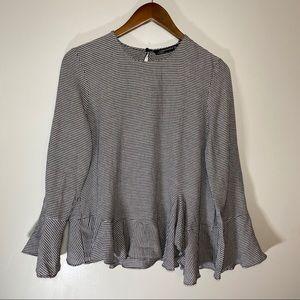 Zara Woman Gingham Plaid Bell Sleeve Ruffle Shirt!